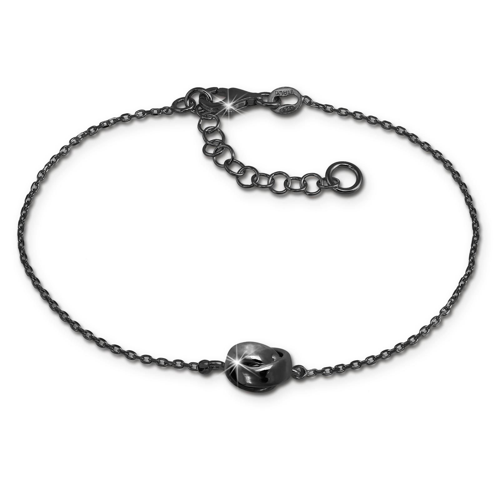 SilberDream Armband verschlungen 925 Silber geschwärzt Damen 18-21cm SDA1138S