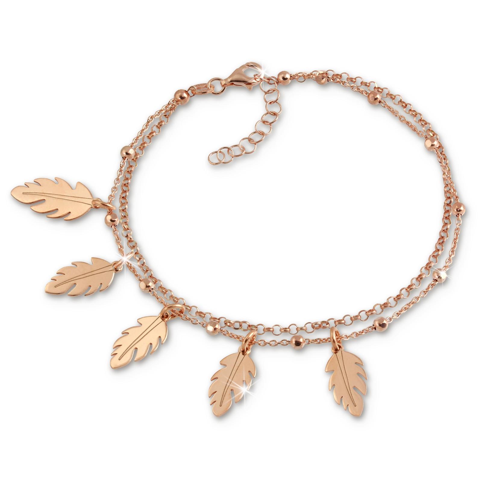 SilberDream Doppel-Armband Blätter 925 Silber rosévergoldet Damen 18cm SDA1158E