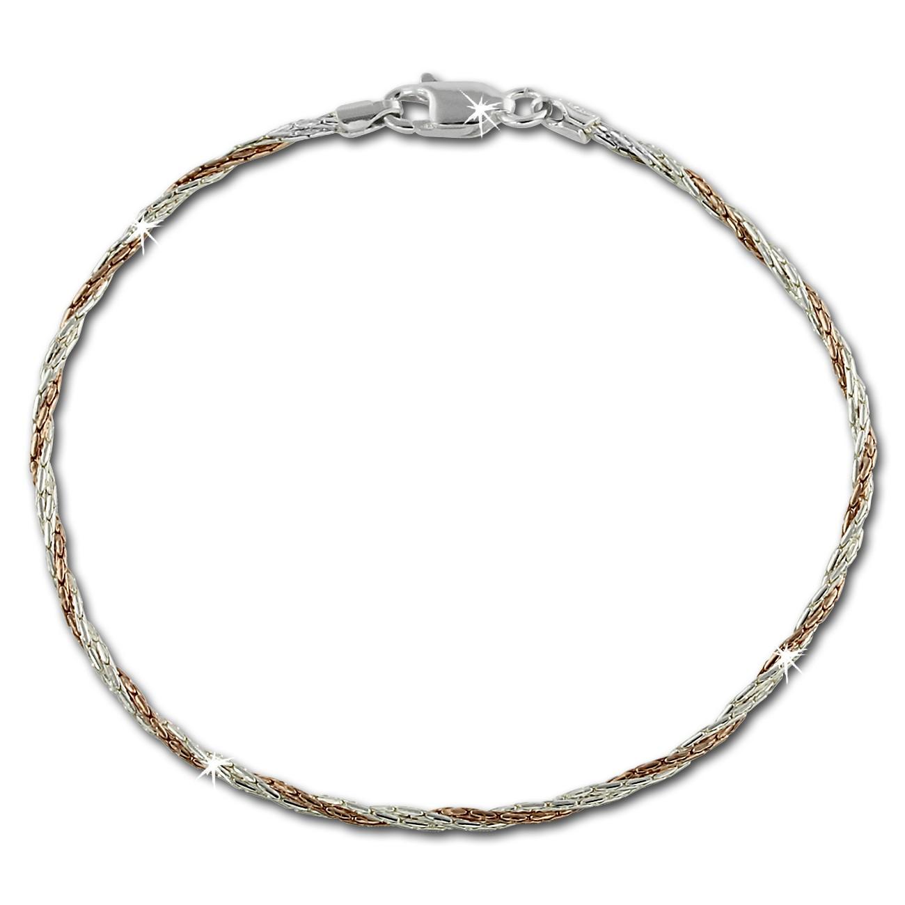 SilberDream Armband gedreht Rose vergoldet 925er Damen 19cm SDA2029E