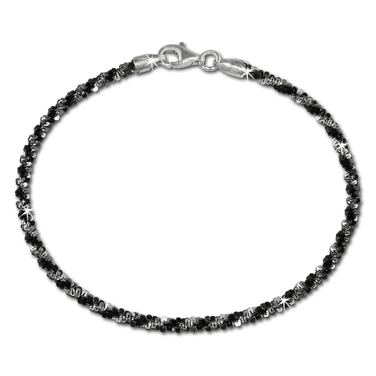 SilberDream Armband gedreht schwarz 20cm 925 Silber Damen SDA2030S