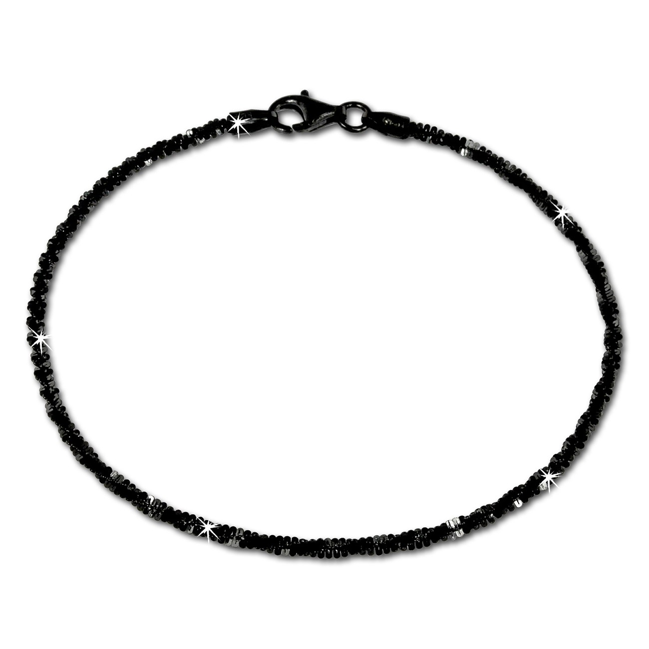 silberdream armband gedreht schwarz 925 silber damen sda2059s. Black Bedroom Furniture Sets. Home Design Ideas