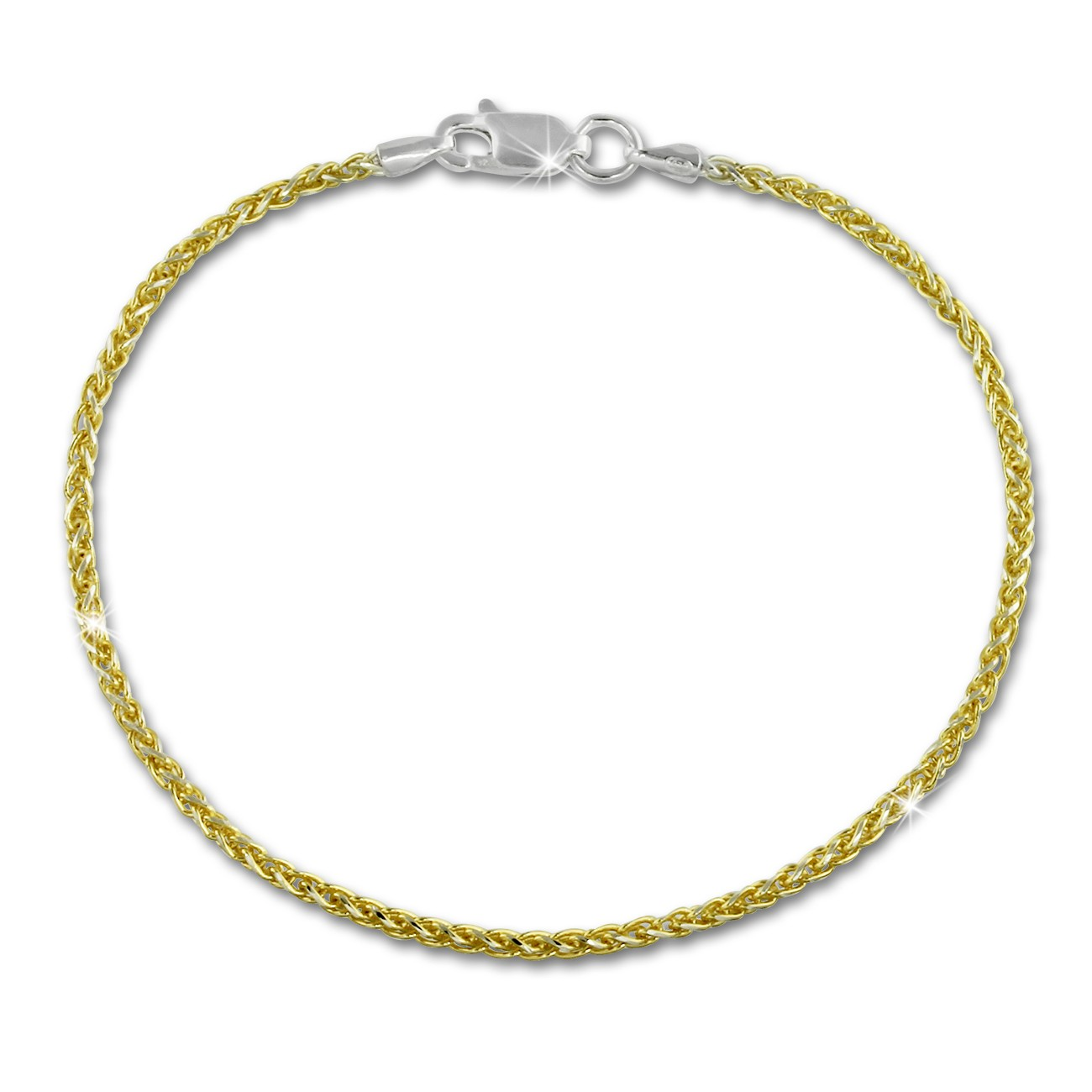 SilberDream Armband Zopf vergoldet 925er Silber Damen 19cm SDA2069Y