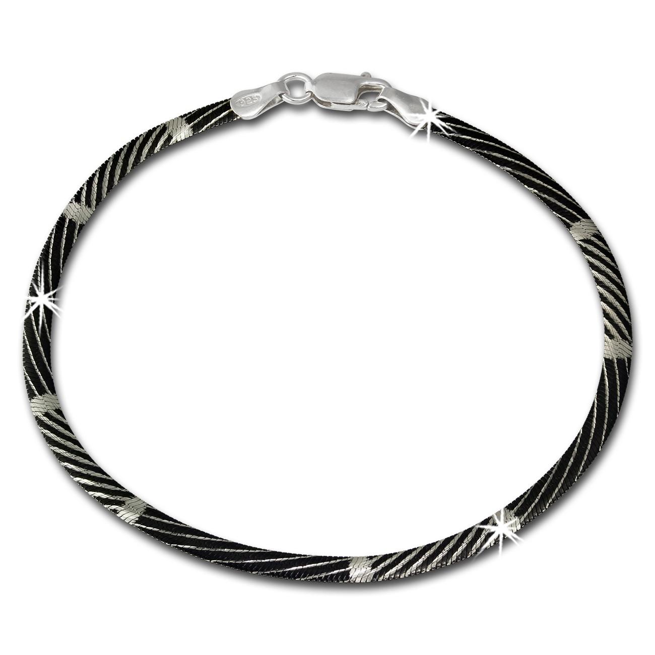 SilberDream Armband Muster schwarz 925er Silber Damen 19cm SDA2089S