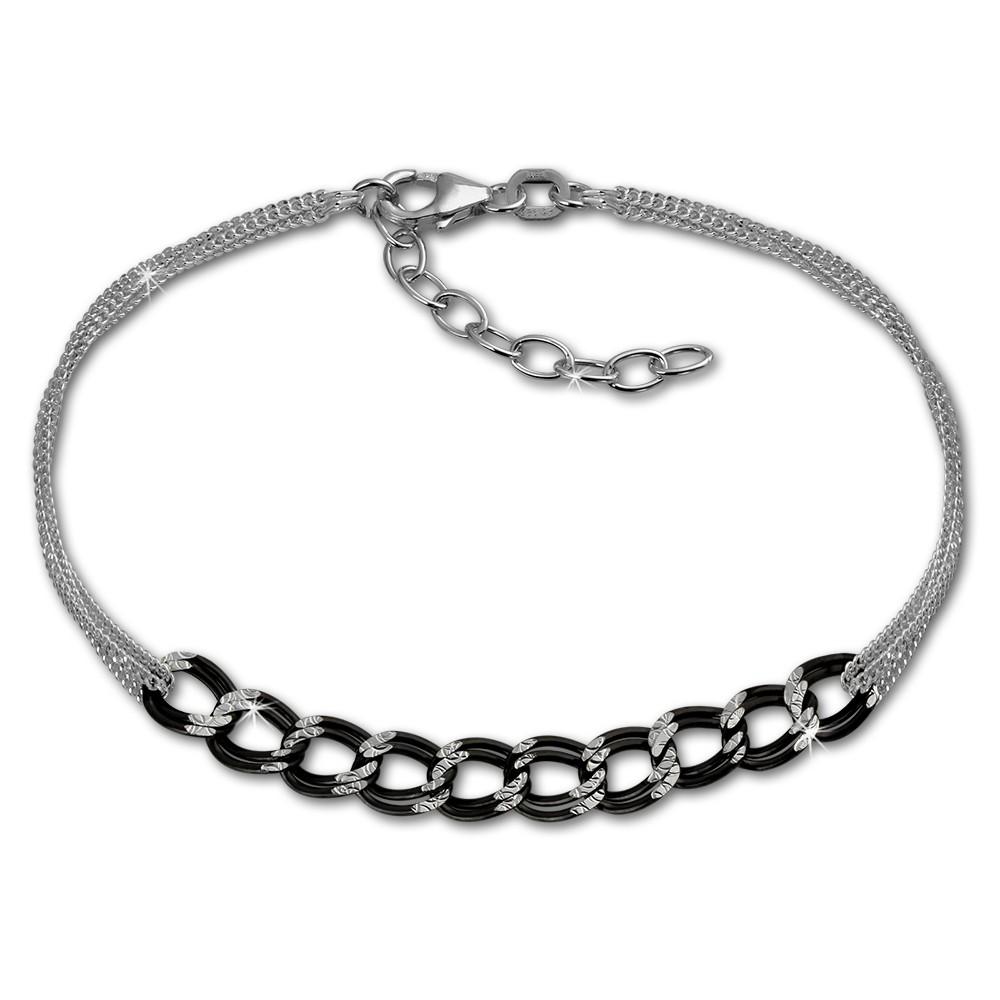 SilberDream Armband Fantasie schwarz 925er Silber Damen 18cm SDA2138S