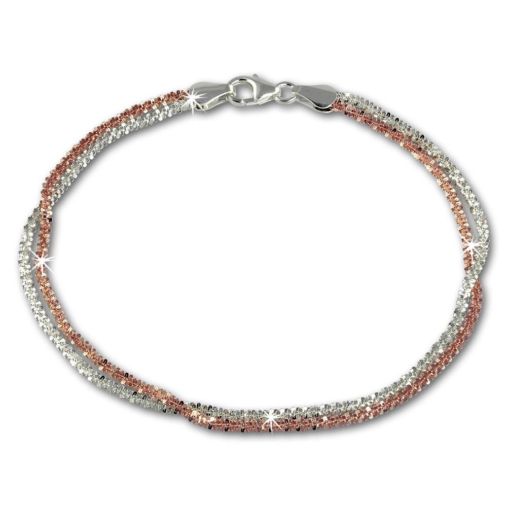 SilberDream Bicolor Armband gedreht Rose 20cm 925er Silber Damen SDA2160T
