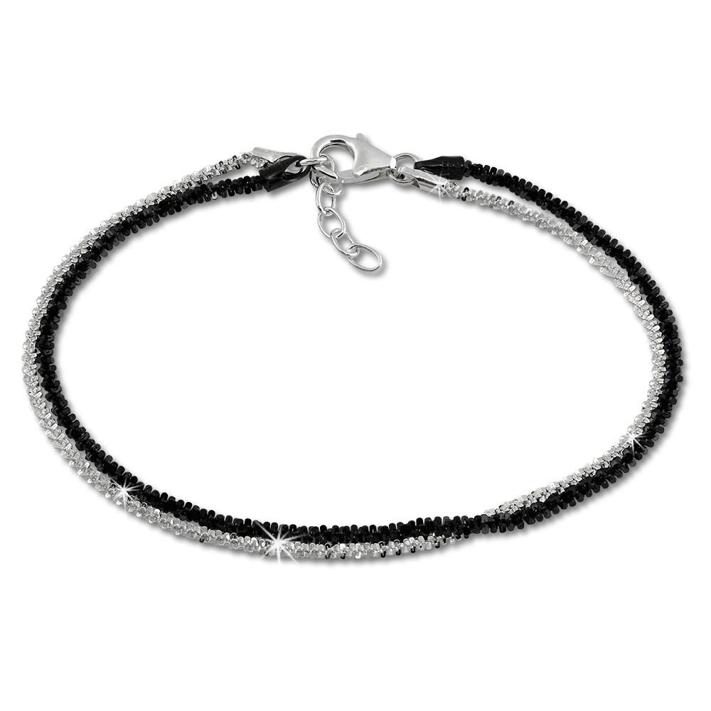 SilberDream Bicolor Armband gedreht geschwärzt und 925 Silber Damen SDA2169S