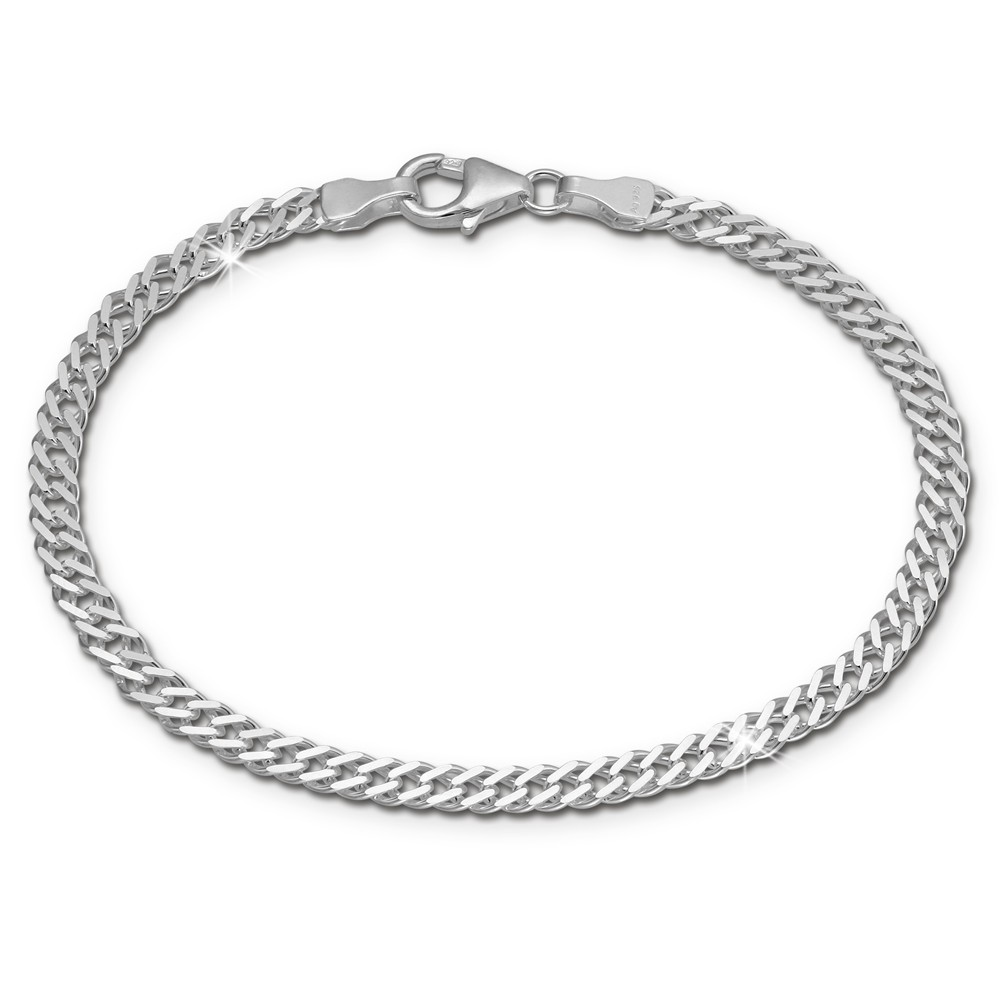 SilberDream Armband Zwillingspanzer 925 Sterling Silber Unisex 18,5cm SDA2368J