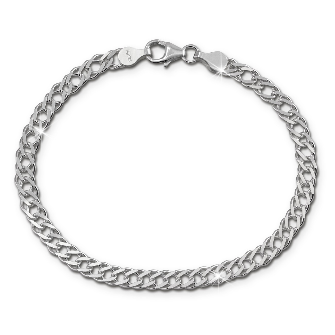 SilberDream Armband Zwillingspanzer 19cm 925 Sterling Silber Unisex SDA2519J