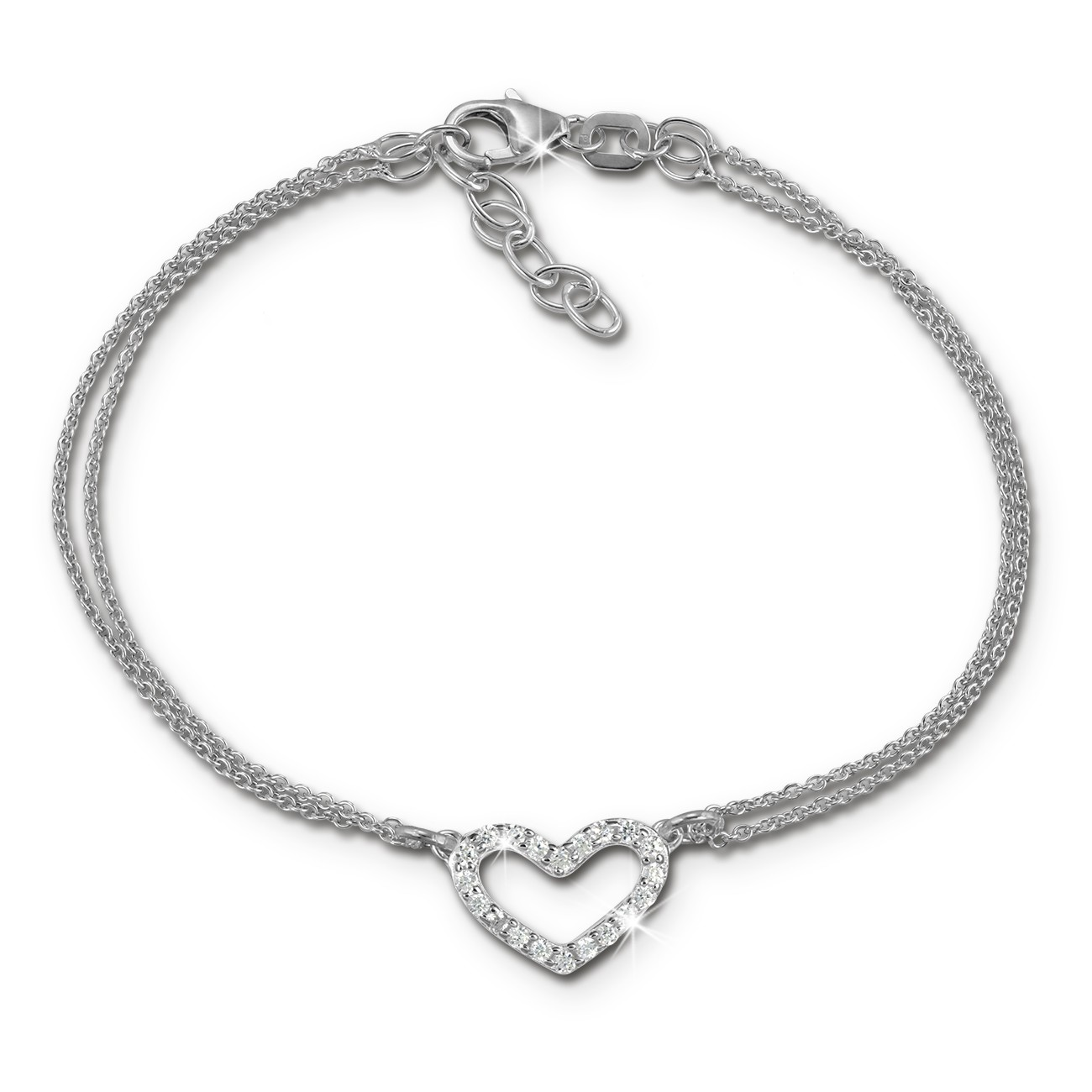 SilberDream Armband Herz Zirkonia weiß 17cm - 19cm 925er Silber Damen SDA2597J