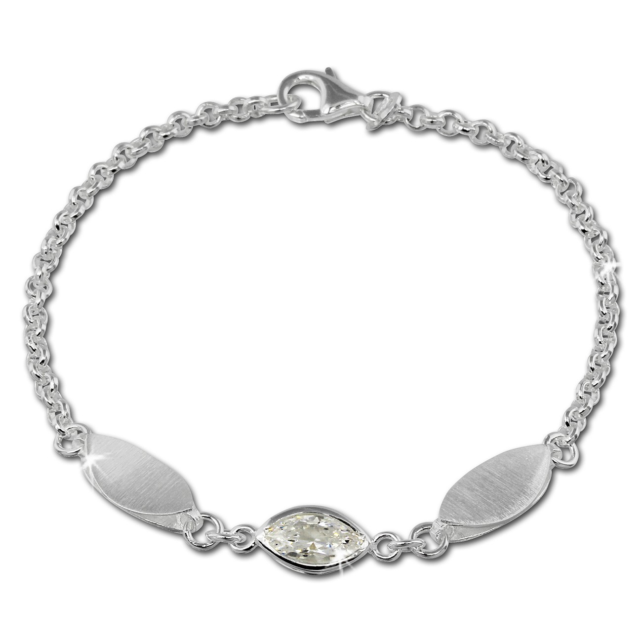 SilberDream Armband Blatt Zirkonia weiß 925er Sterling Silber 19cm SDA418W