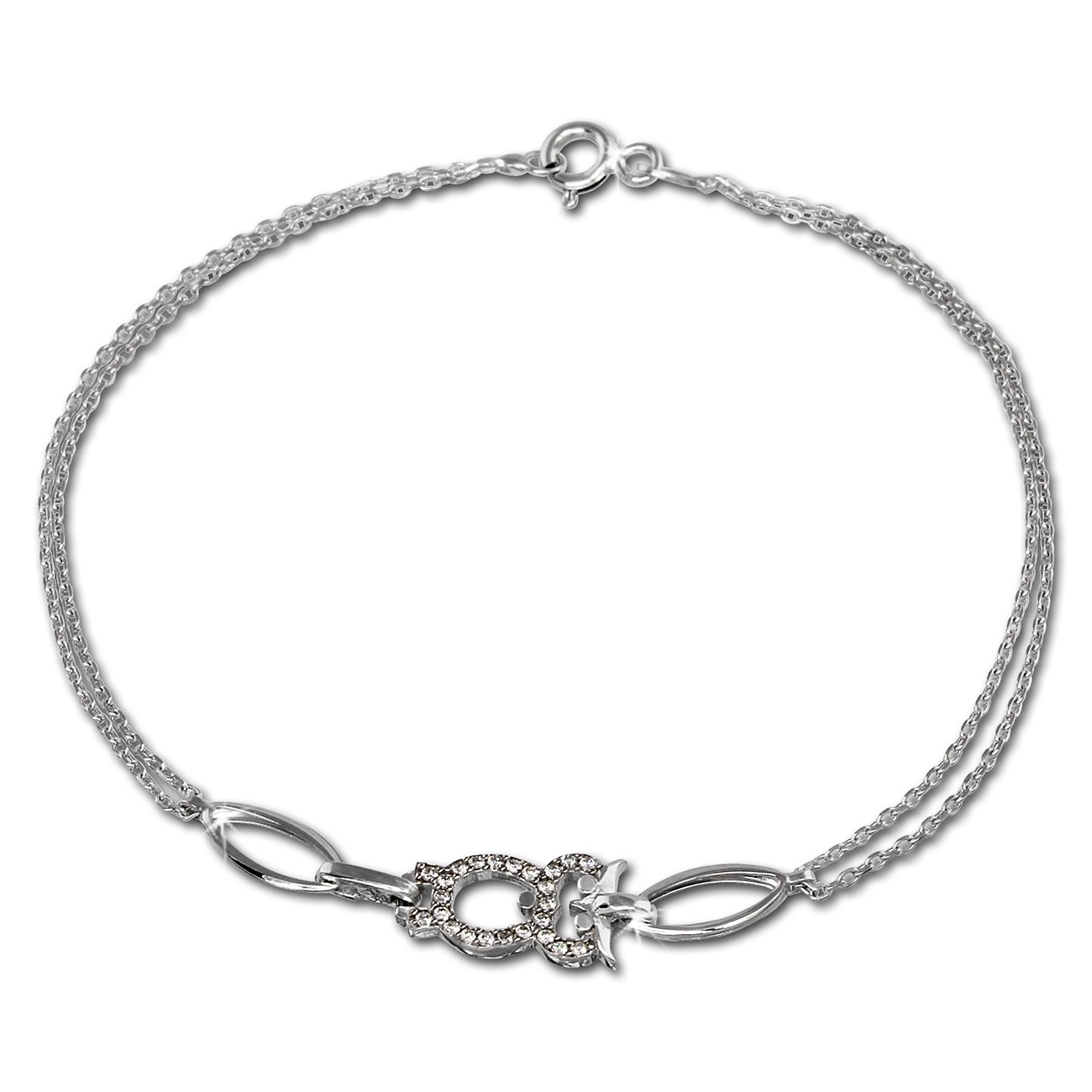 SilberDream Armband Eule Zirkonia weiß 925er Sterling Silber 19cm SDA424W