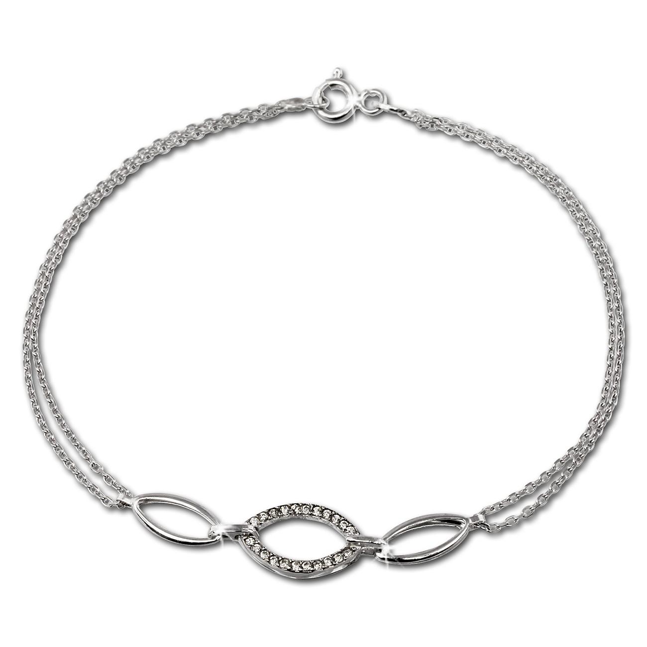 SilberDream Armband Oval Zirkonia weiß 925er Sterling Silber 19cm SDA425W