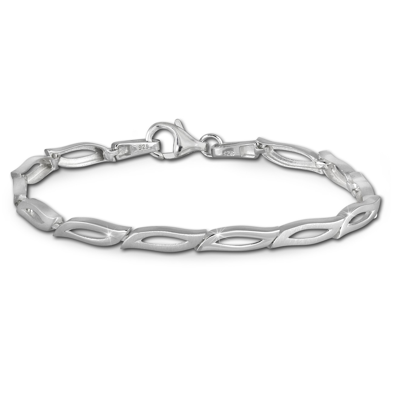 SilberDream Armband Blütenblatt matt/glänzend 925 Sterling Silber 19cm SDA428