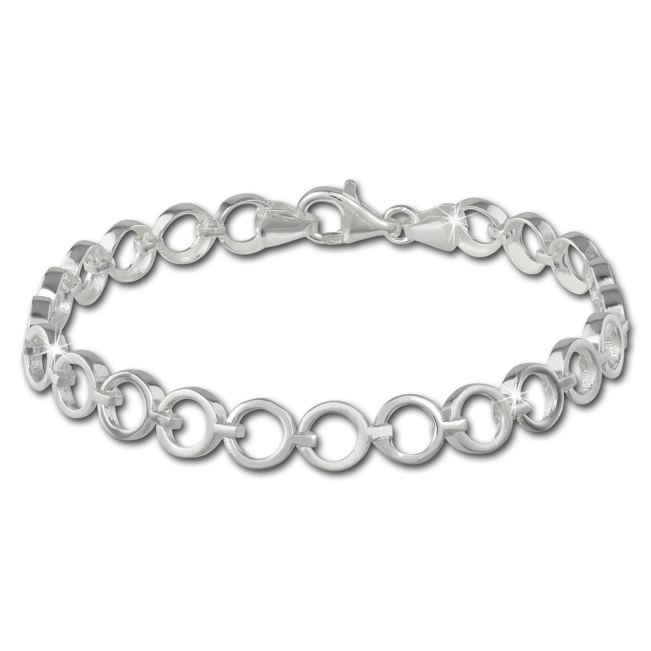 SilberDream Armband Circle matt/glänzend 925 Sterling Silber 19,5cm SDA431