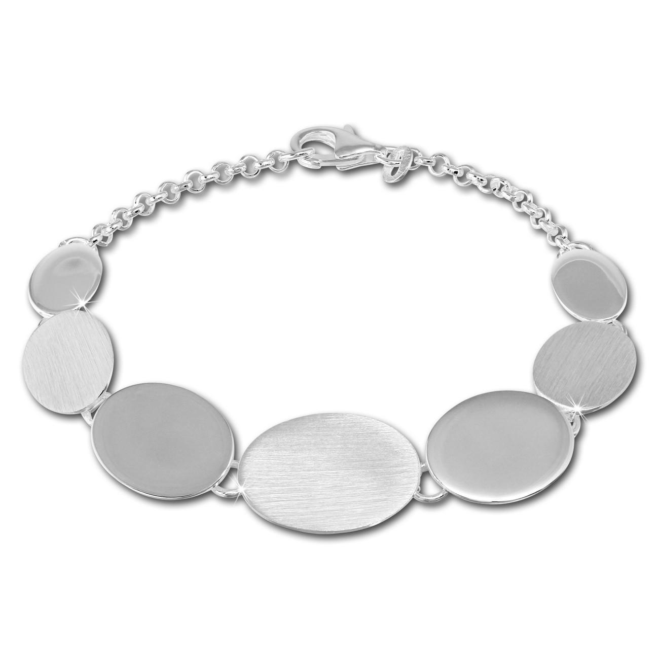 SilberDream Armband Oval matt/glänzend 925 Sterling Silber 19,5cm SDA434