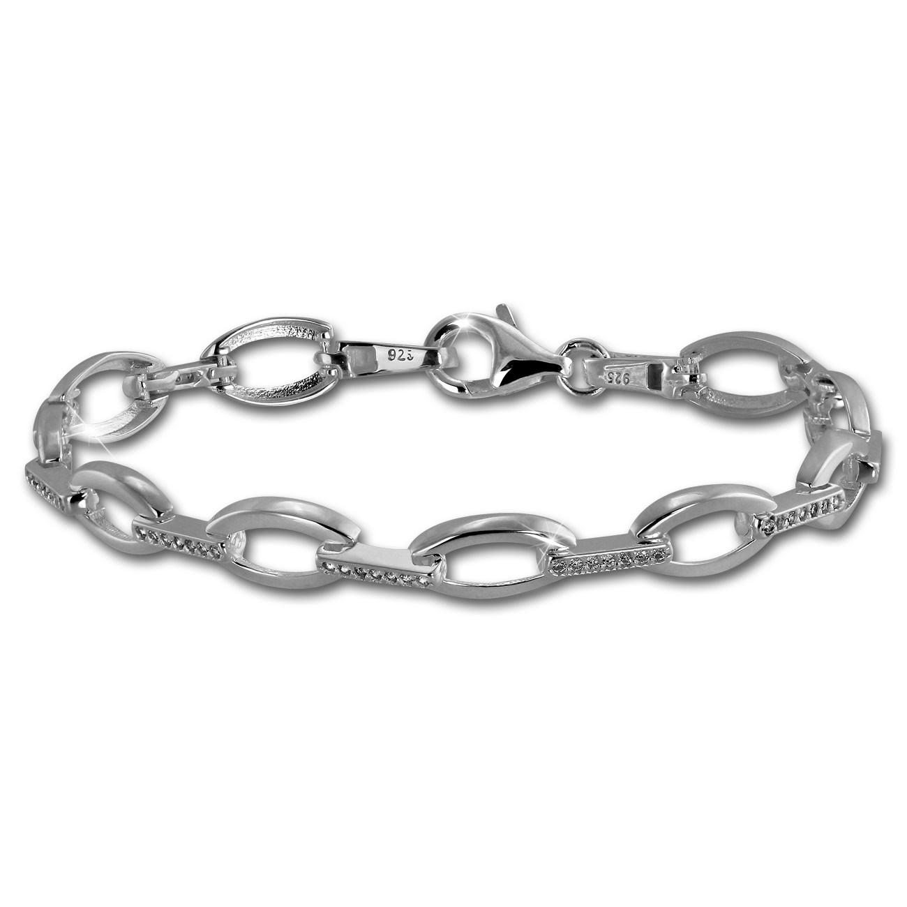 SilberDream Armband Oval Zirkonia weiß 925er Silber 18,8cm Damen SDA449W