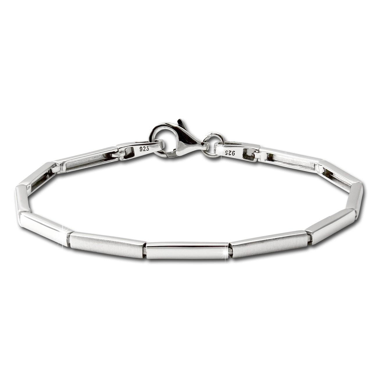 SilberDream Armband Line matt/glänzend 925 Sterling Silber 18,5cm SDA452J