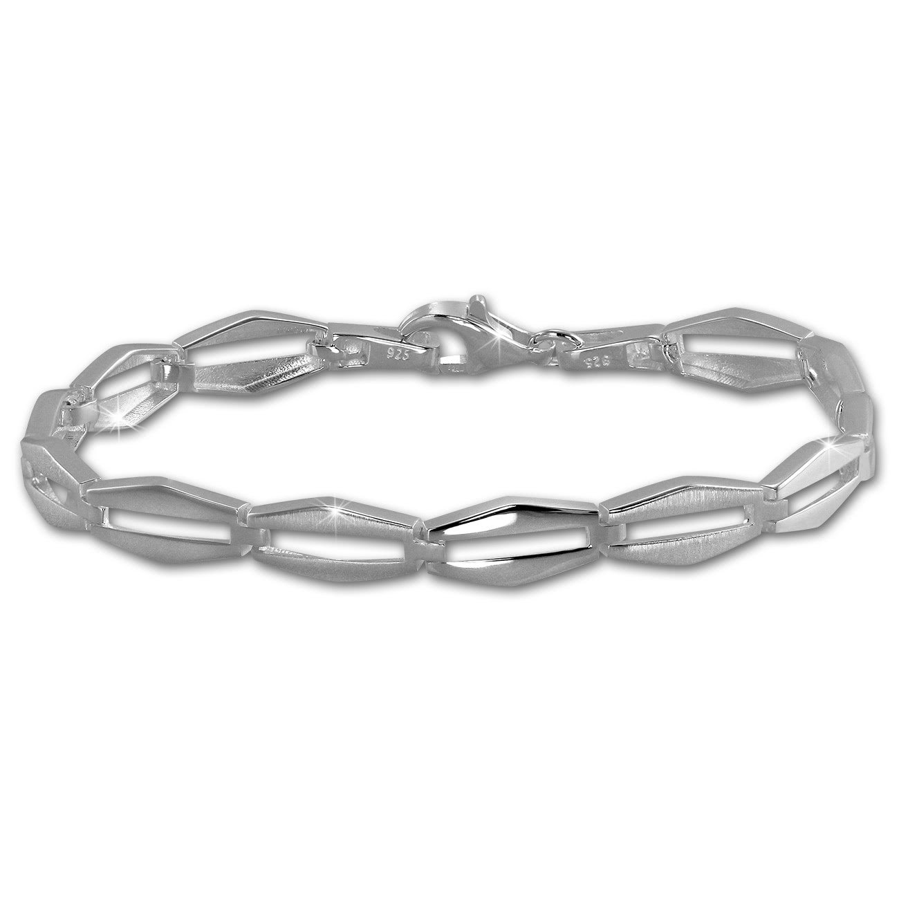 SilberDream Armband Raute matt/glänzend 925 Sterling Silber 19,5cm SDA459J