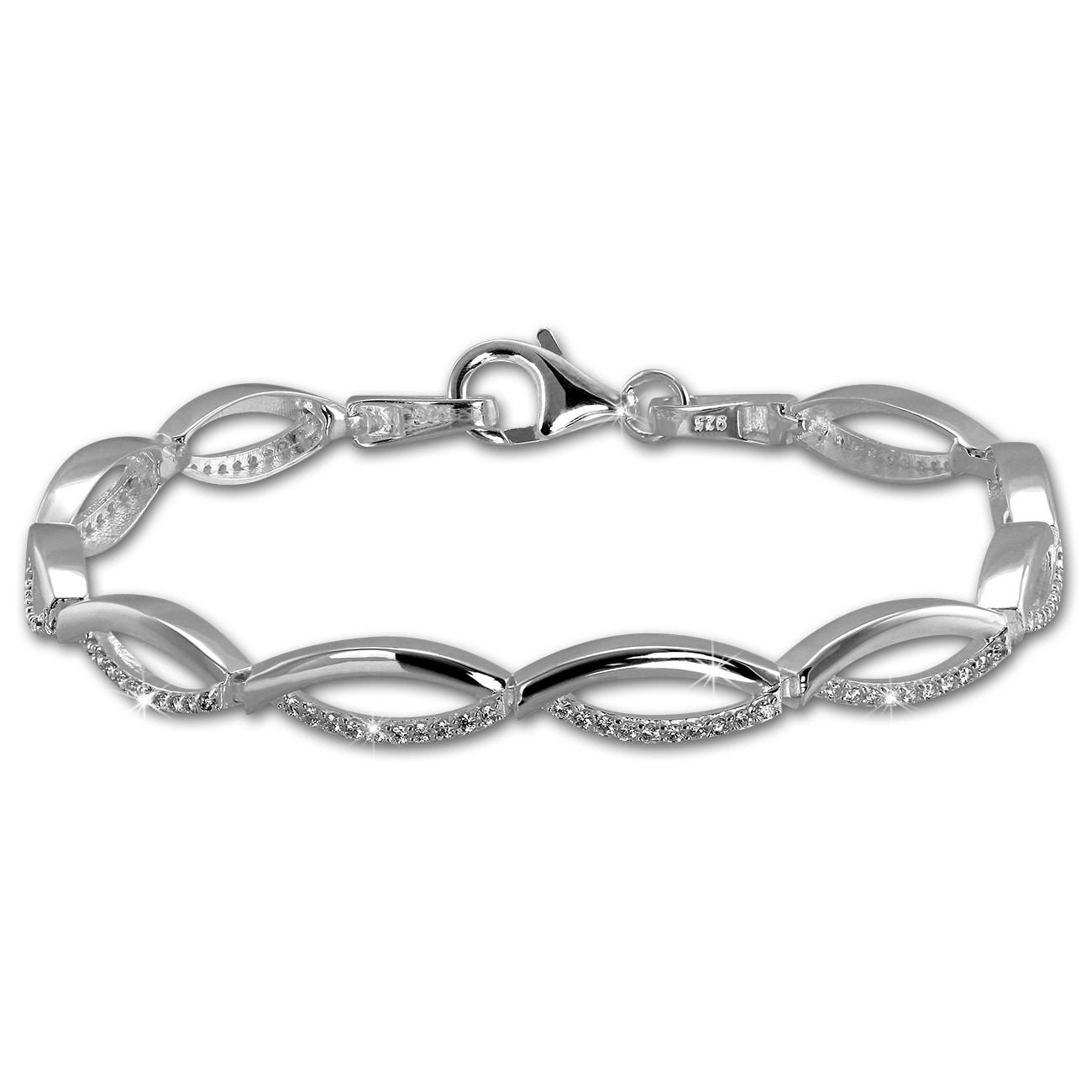 SilberDream Armband Oval Zirkonia weiß 925er Silber 18,5cm Damen SDA460W