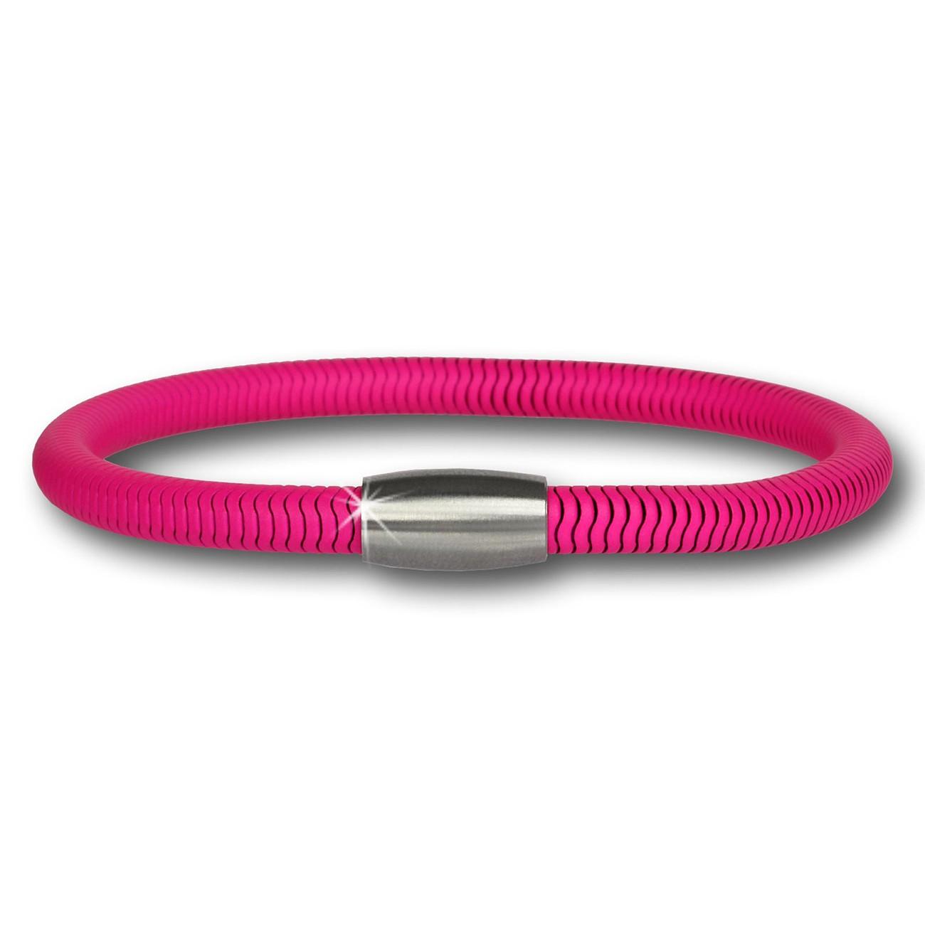 SilberDream Damen Armband Schlange NEON Pink Stahlverschluss SDA501P