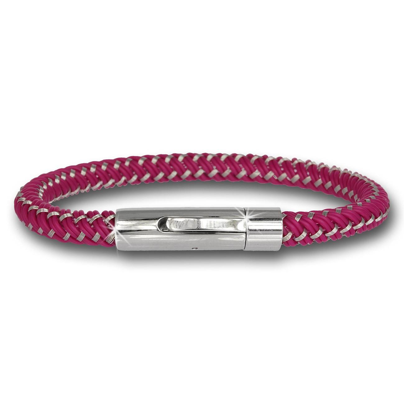 SilberDream Damen Armband Geflecht pink mit Stahlverschluss SDA503P