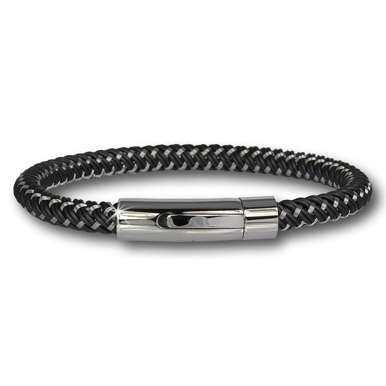 SilberDream Damen Armband Geflecht schwarz mit Stahlverschluss SDA503S