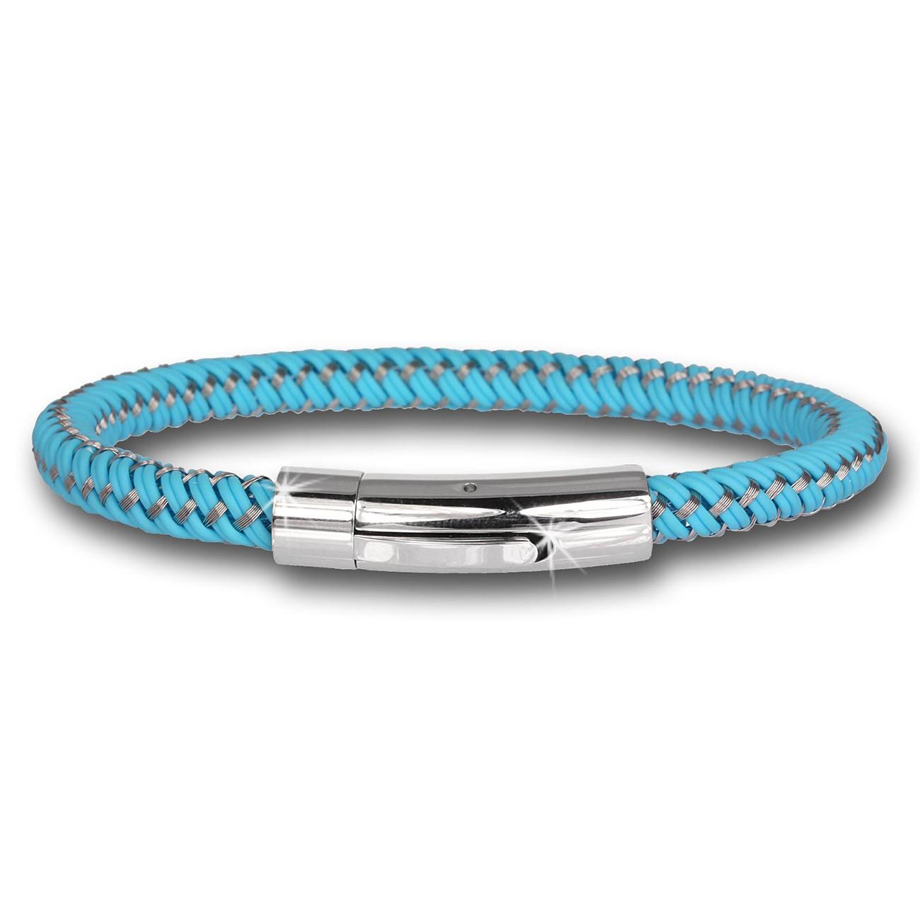SilberDream Damen Armband Geflecht türkis mit Stahlverschluss SDA503T
