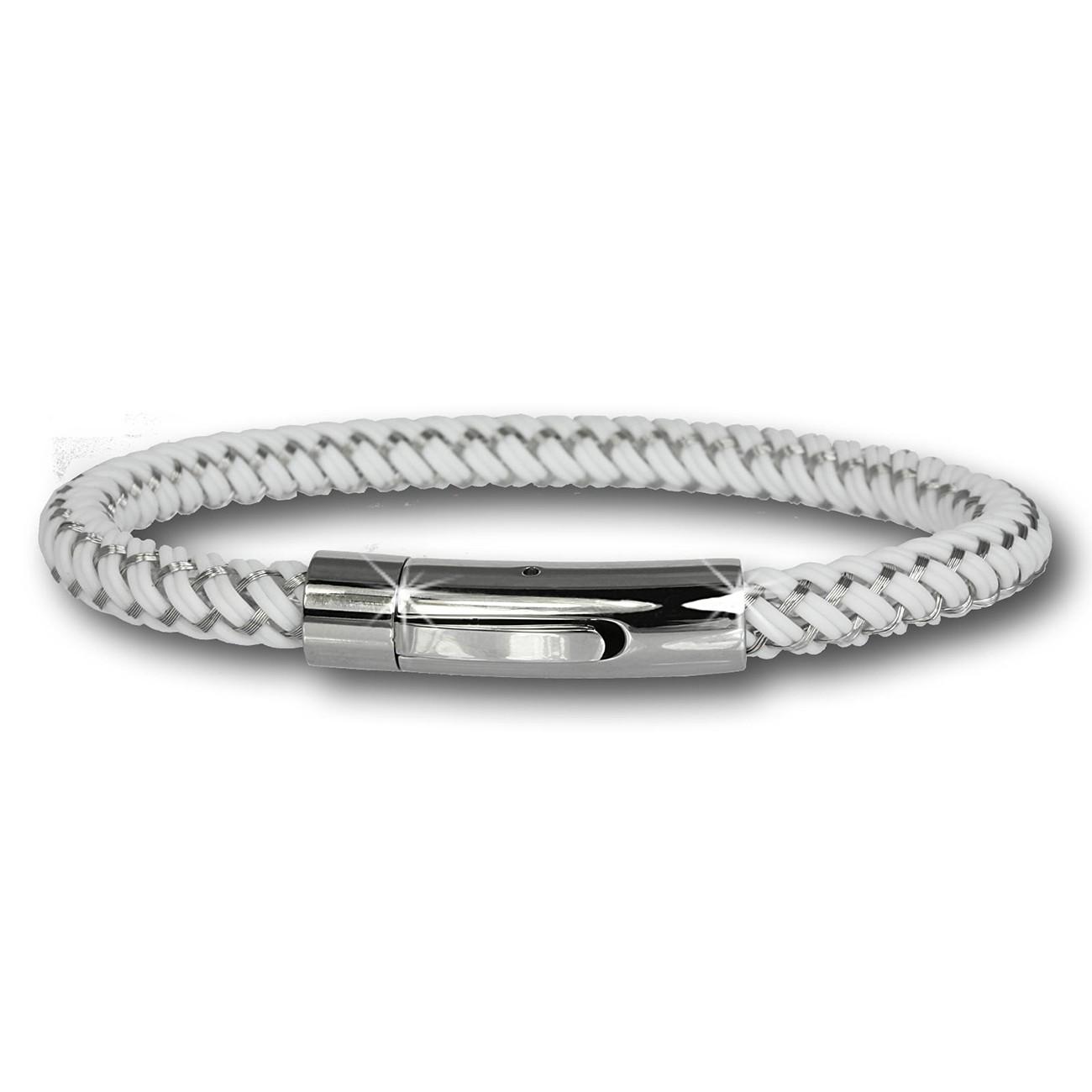 SilberDream Damen Armband Geflecht weiß mit Stahlverschluss SDA503W