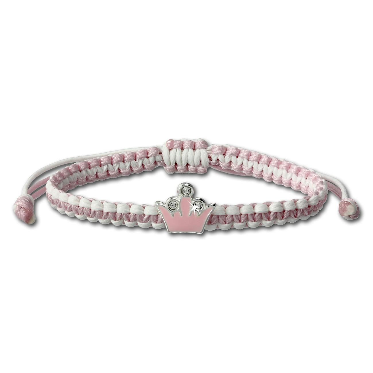 Kinder Armband rosa mit Krone Kinderschmuck aus 925er Silber TW SDA8000A