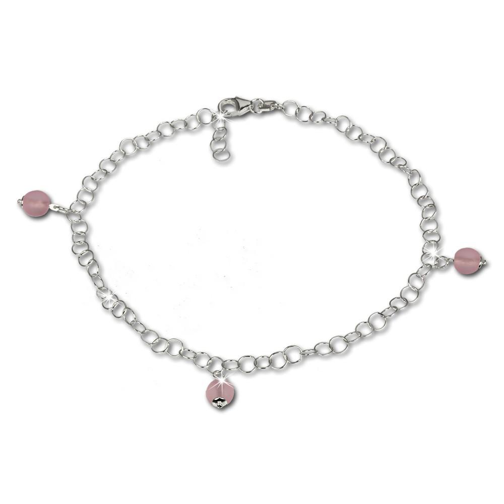 SilberDream Fußkette Kugel Glas rosa 25cm 925 Silber SDF011A