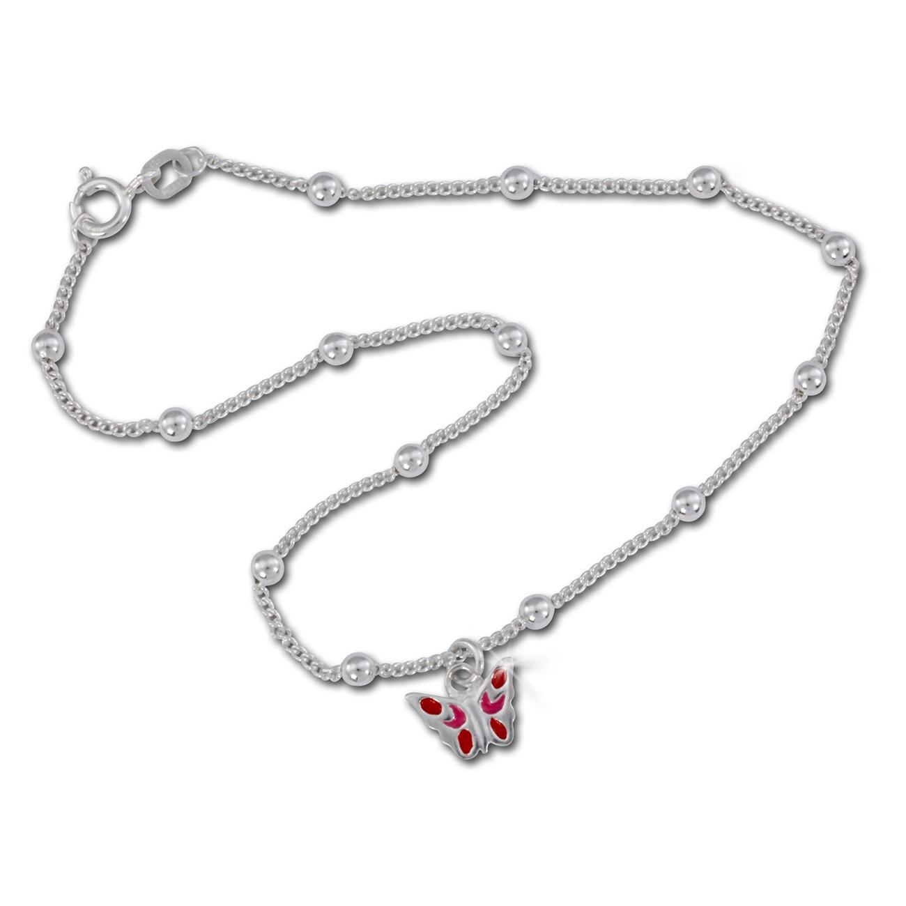 SilberDream Fußkette Schmetterling rot 25cm 925 Silber SDF016R