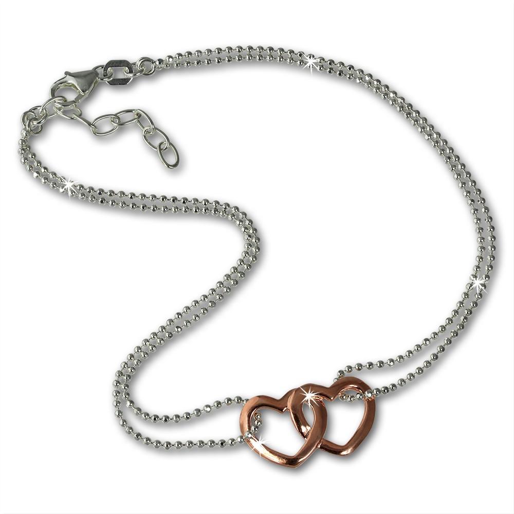SilberDream Fußkette Doppel Herz Rose vergoldet und 925er Silber SDF0263T