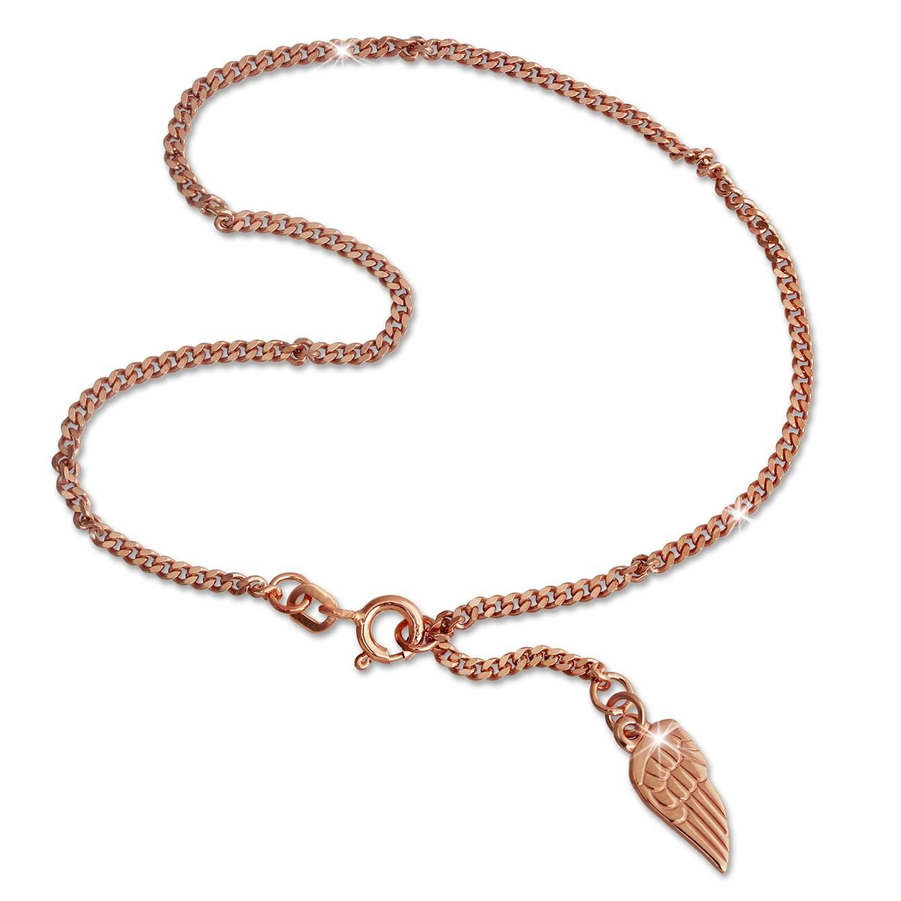 SilberDream Fußkette Flügel 26cm Rose vergoldet und 925 Silber SDF0285E