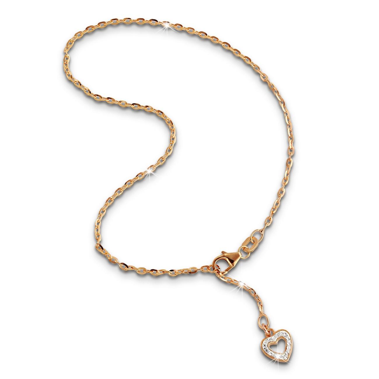 SilberDream Fußkette Herz Zirkonia 25,5cm Rose vergoldet und 925 Silber SDF0335E