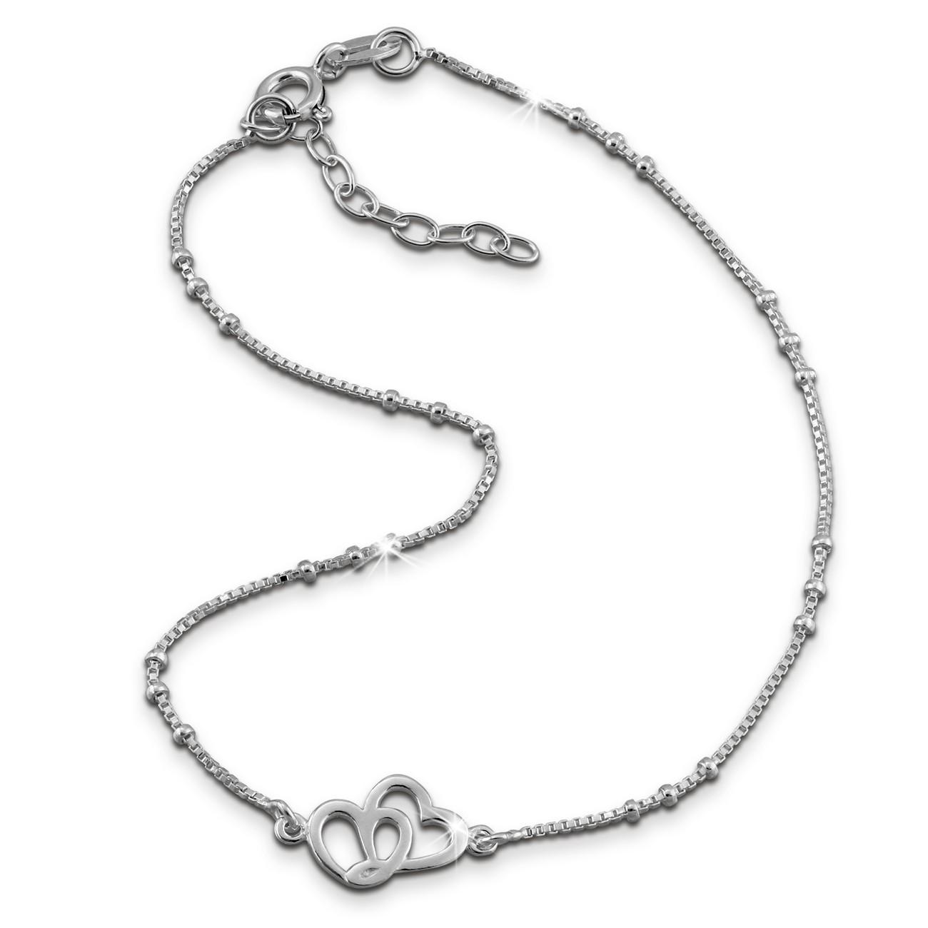 SilberDream Fußkette Zwei Herzen 23cm - 26cm Damenschmuck 925er Silber SDF0353J
