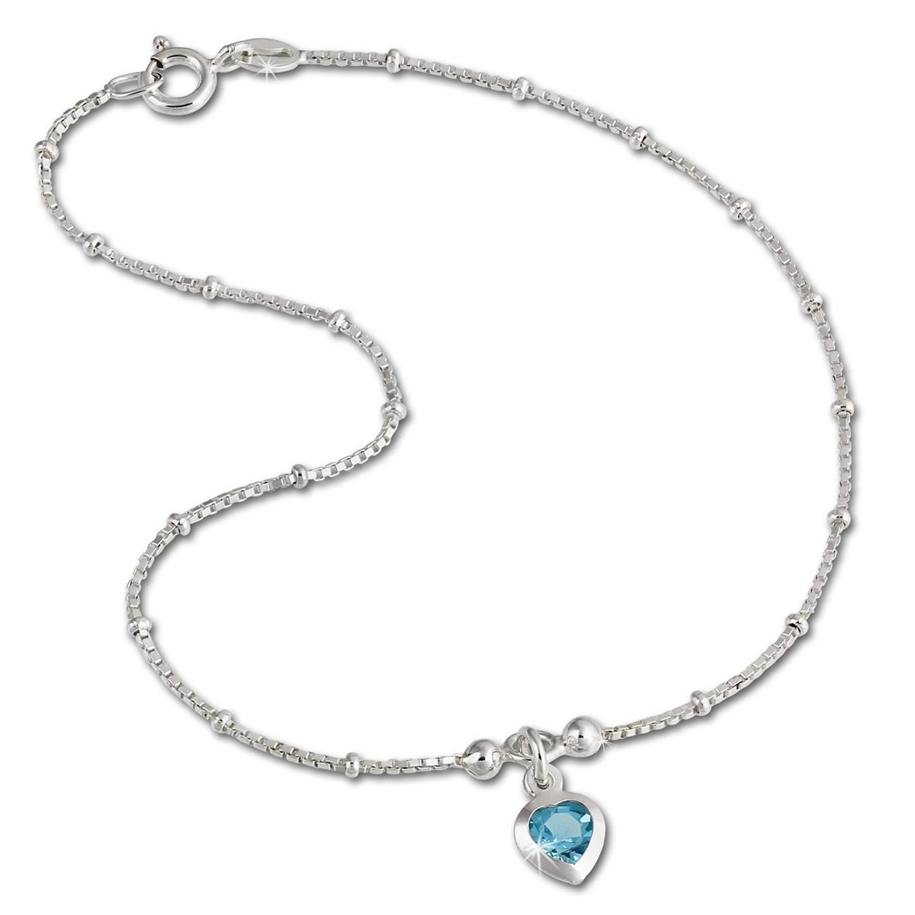 SilberDream Fußkette Herz 23cm Zirkonia hellblau Silber SDF2023H