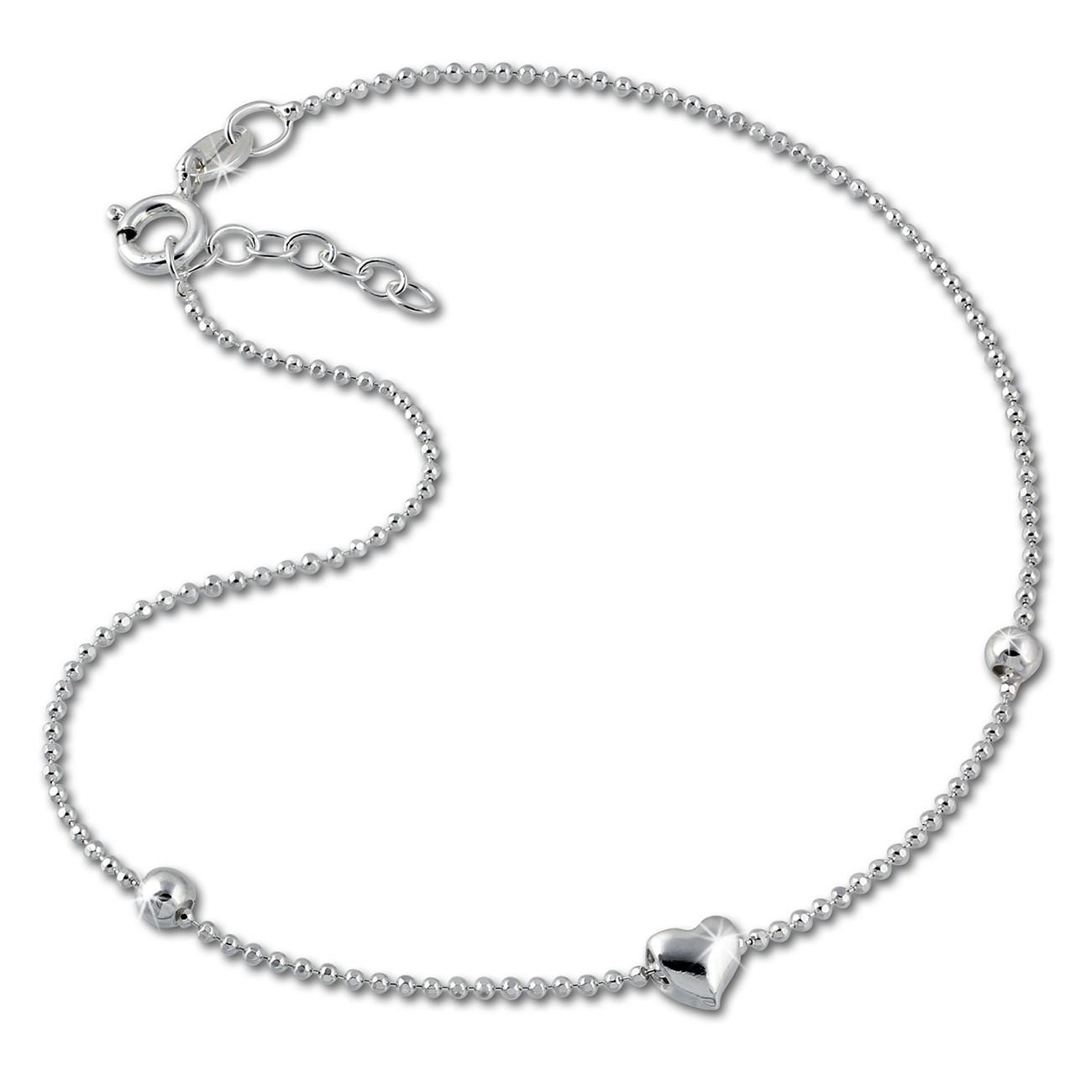 SilberDream Fußkette Herzchen 25cm 925 Sterling Silber SDF2045