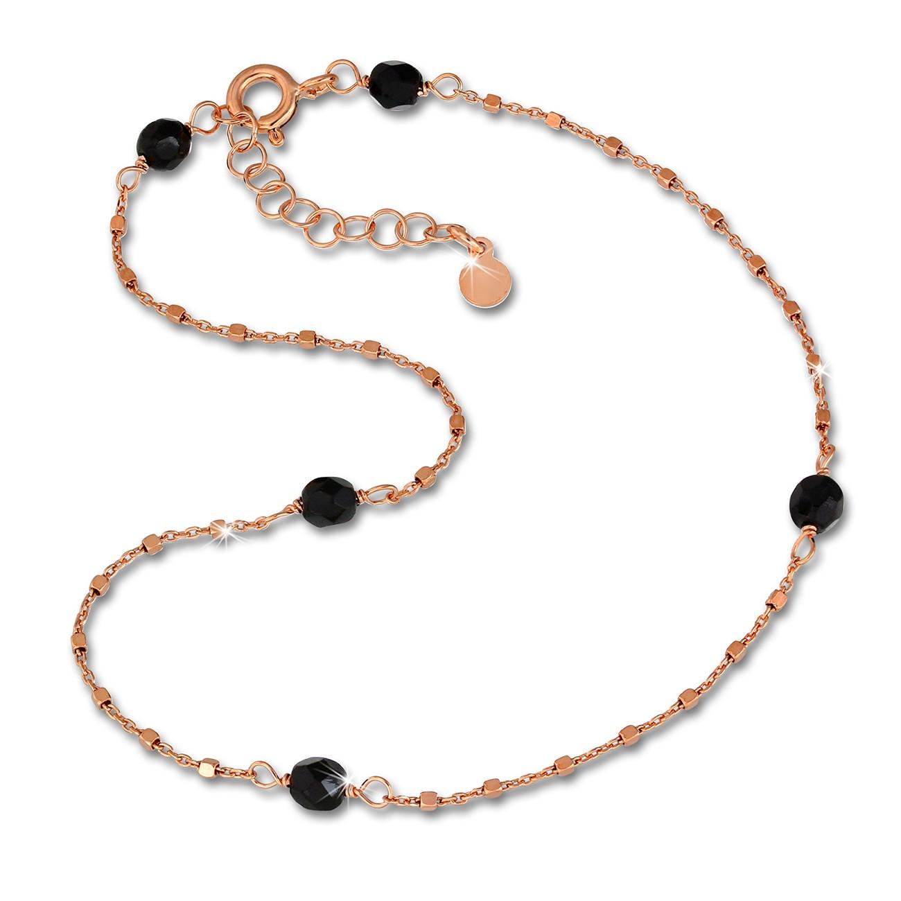 SilberDream Fußkette Perlen schwarz rosevergoldet 27cm 925er Silber SDF2234E