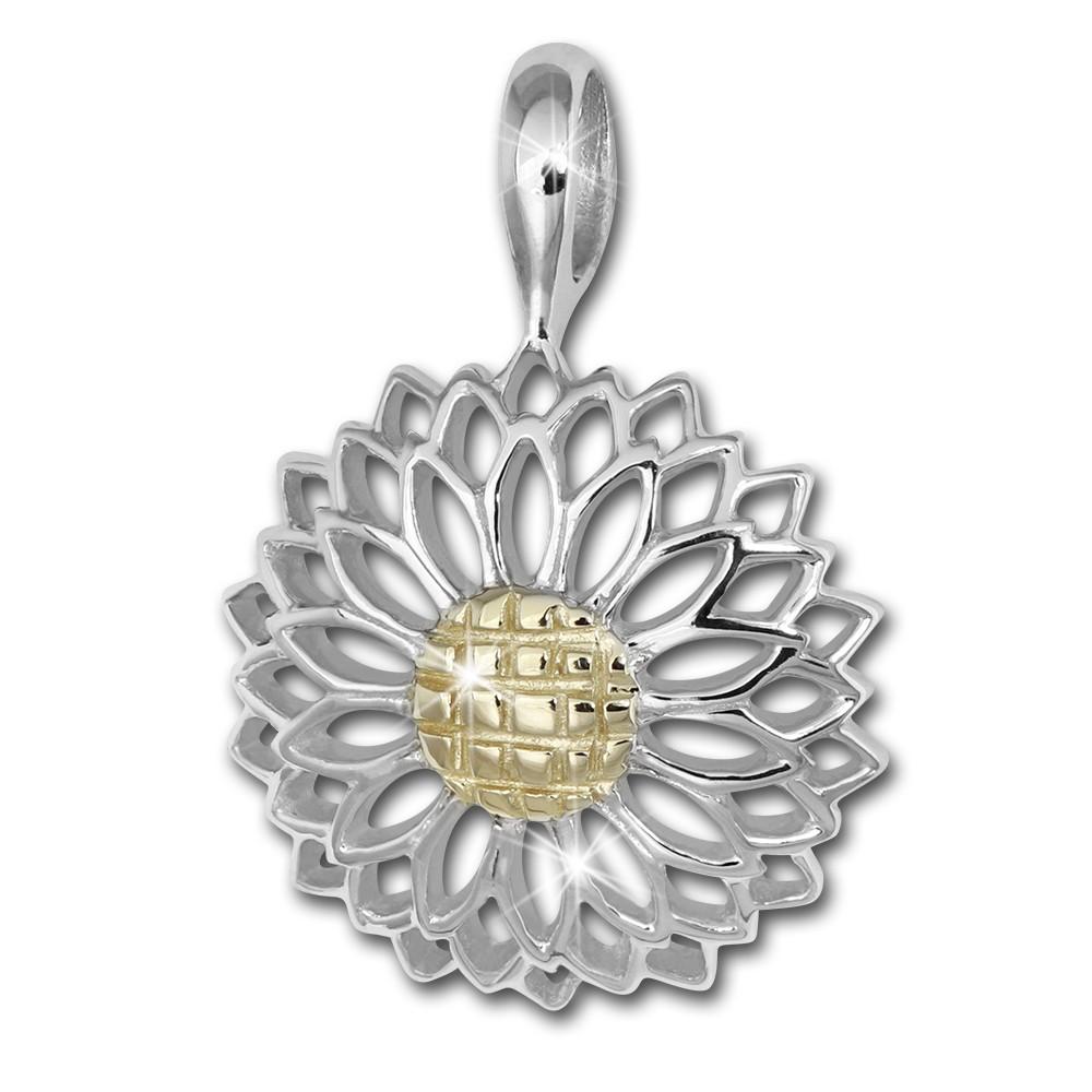 SilberDream Kettenanhänger Gerbera 925 Sterling Silber vergoldet Damen SDH455Y