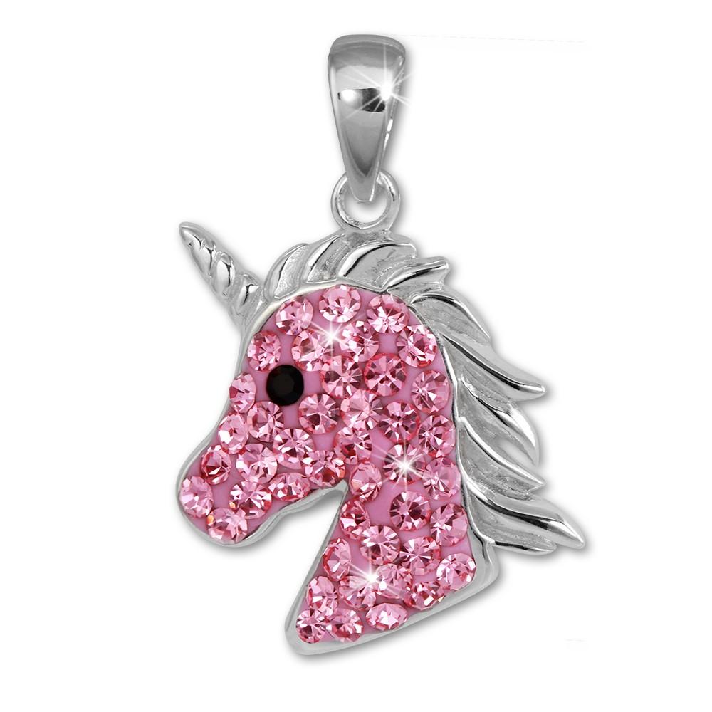 SilberDream Kettenanhänger Einhorn-Kopf Zirkonia rosa Kinder 925 Silber SDH459A