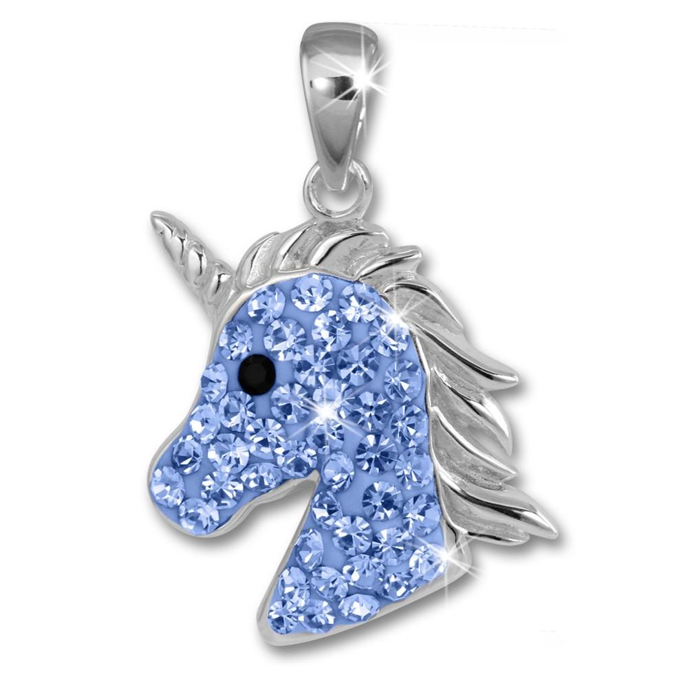 Teenie-Weenie Kettenanhänger Einhornkopf Zirkonia blau Kinder 925 Silber SDH459H