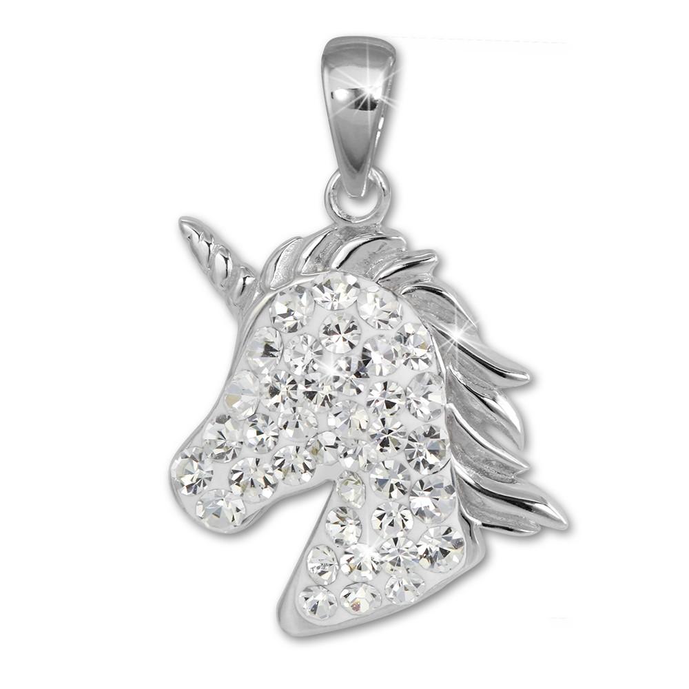 SilberDream Kettenanhänger Einhorn-Kopf Zirkonia weiß Kinder 925 Silber SDH459W