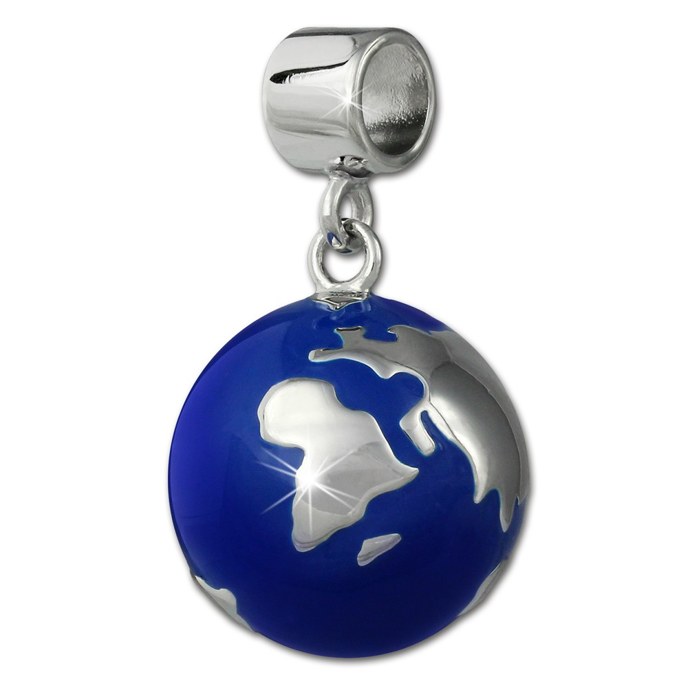SilberDream Ketten Anhänger Weltkugel blau Emaille 925er Silber SDH601B
