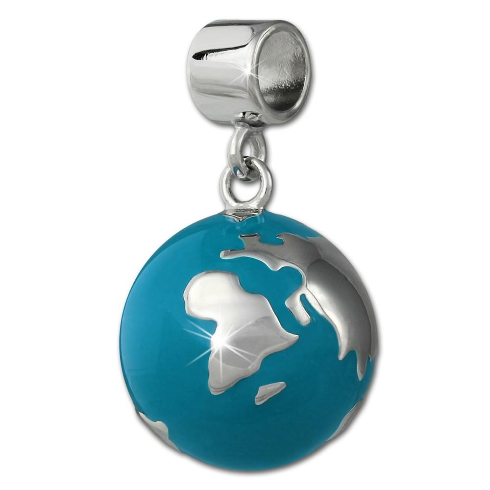 SilberDream Ketten Anhänger Weltkugel türkis Emaille 925er Silber SDH601T