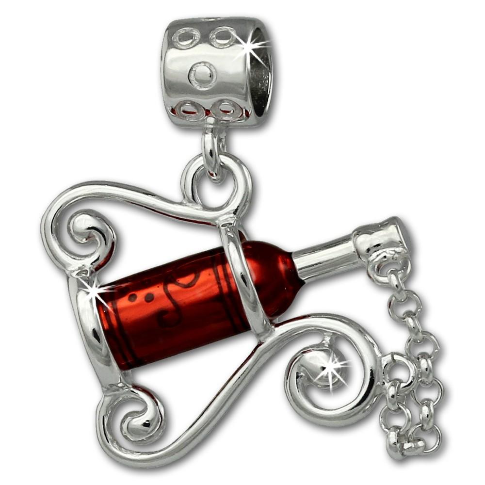 SilberDream Ketten Anhänger Weinflasche rot Emaille 925er Silber SDH604R