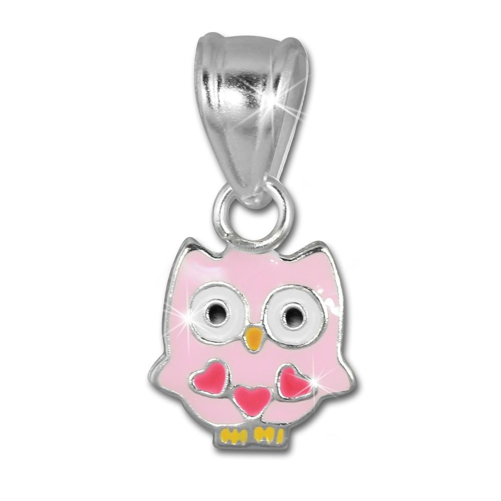 SilberDream Kettenanhänger Eule rosa für Kinder 925er Silber SDH8103A