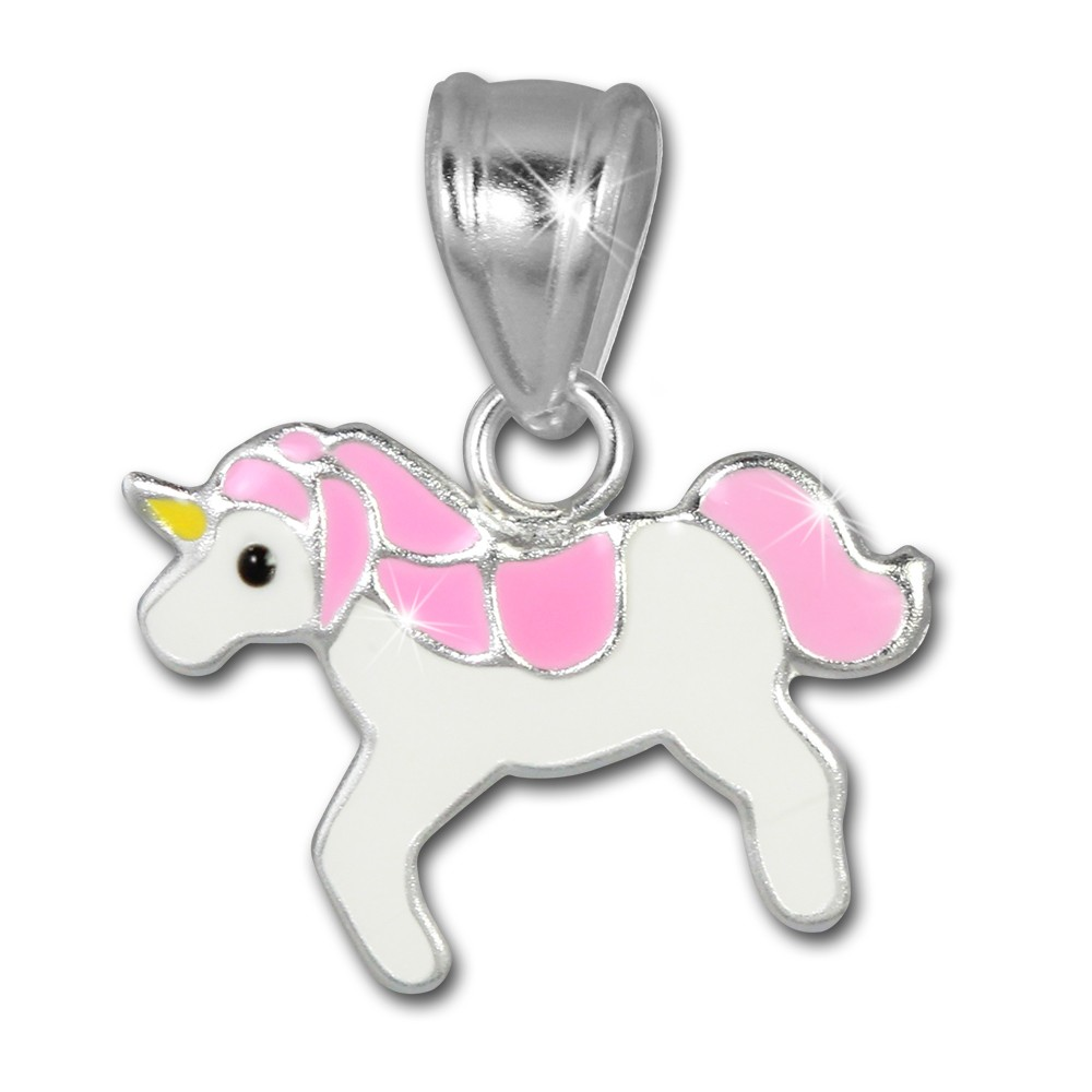 SilberDream Kettenanhänger Einhorn rosa/weiß für Kinder 925er Silber SDH8104A