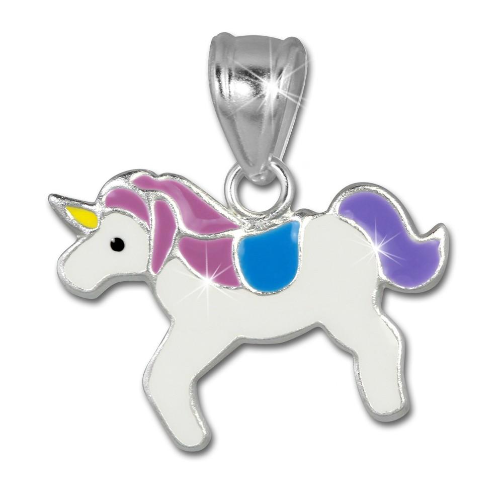 SilberDream Kettenanhänger Einhorn lila/weiß für Kinder 925er Silber SDH8105W