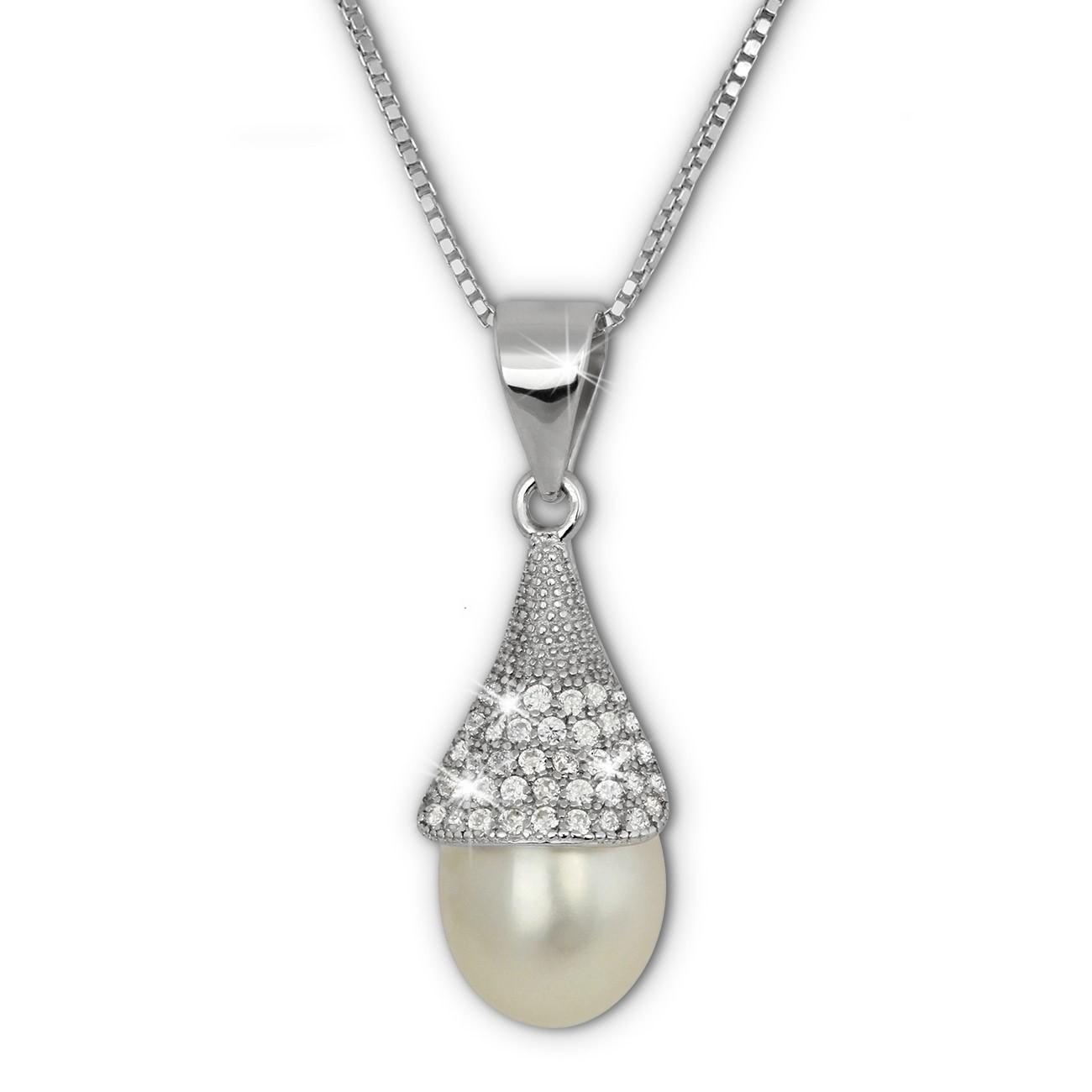 SilberDream Halskette Süßwasser Perle weiß Zirkonias 925 Silber Damen SDK1528W