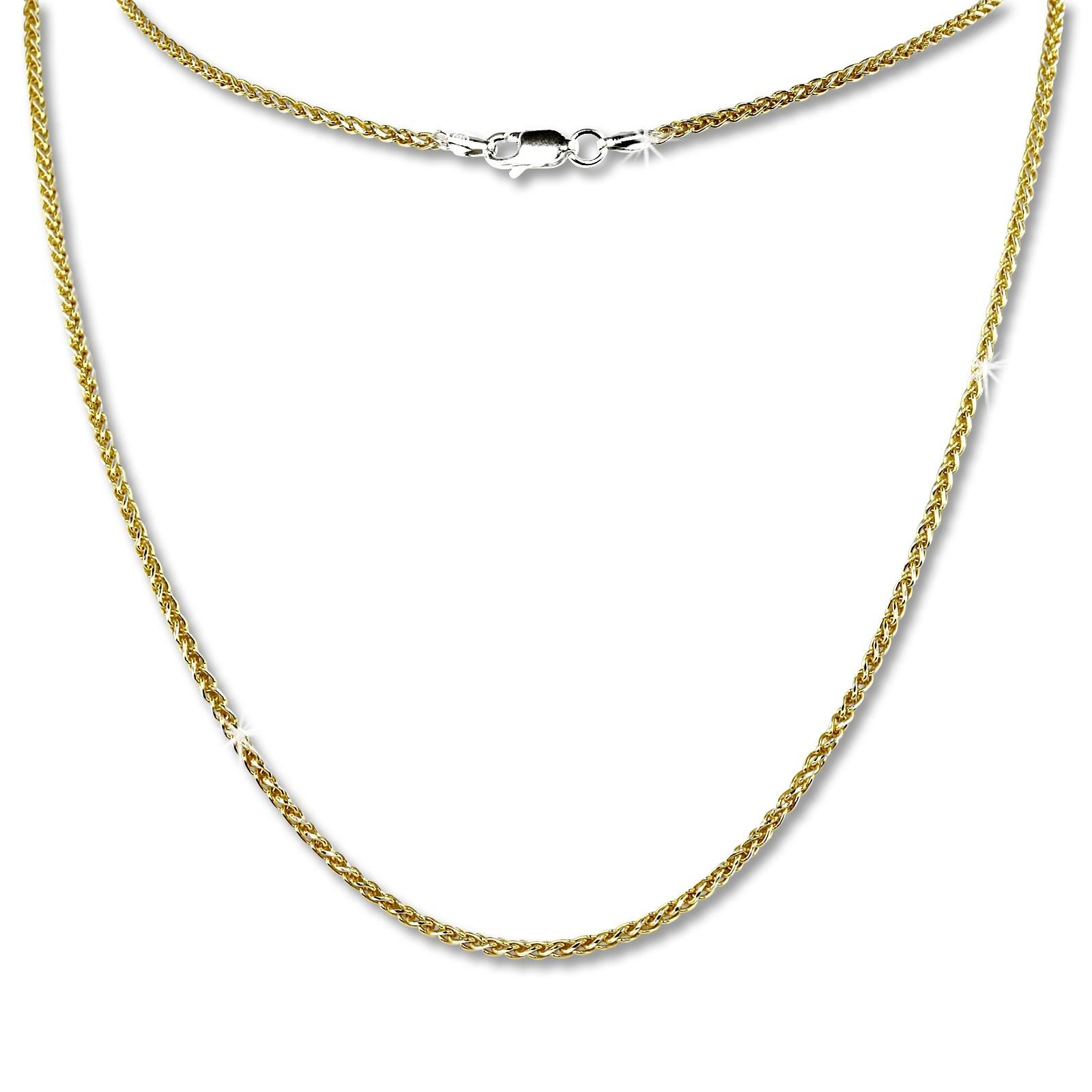 SilberDream Collier Kette Zopf vergoldet 925 Silber Damen 45cm SDK21545Y
